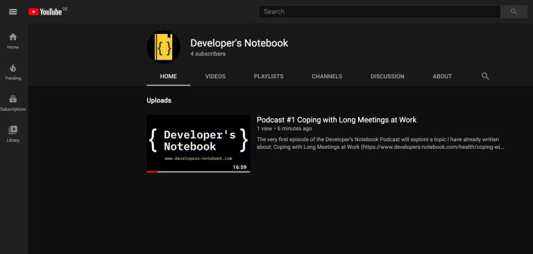 Developer's Notebook on YouTube