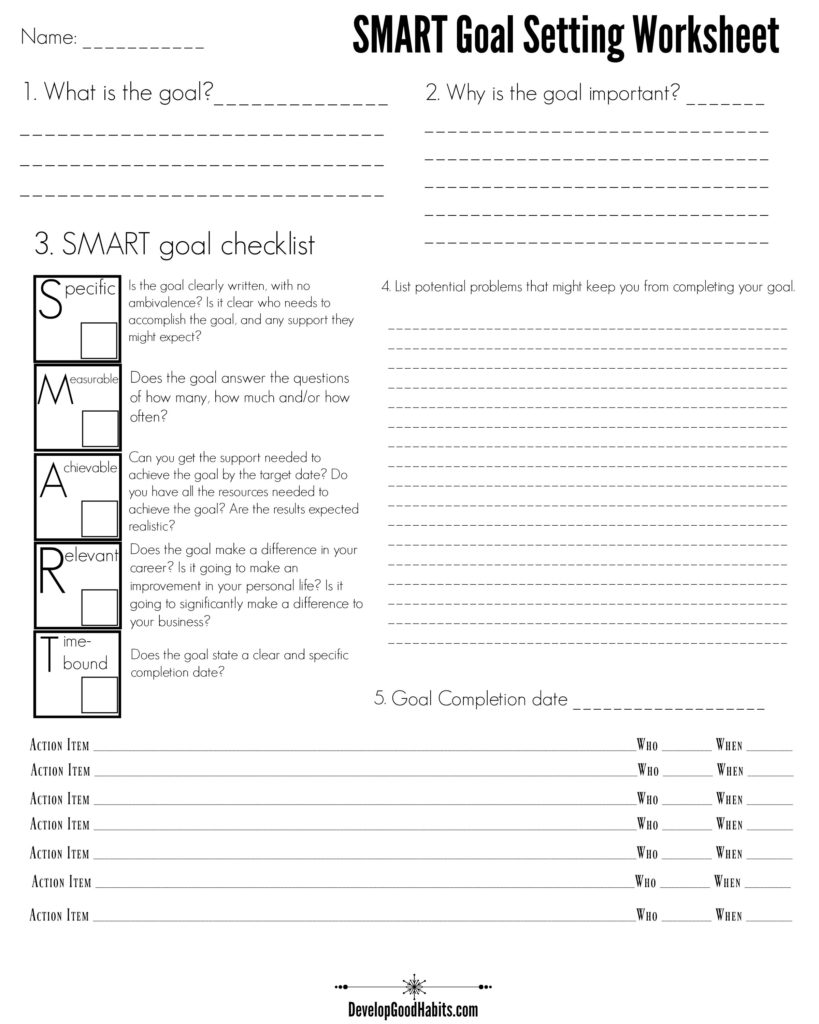 4 Free Goal Setting Worksheets  FREE Forms, Templates and