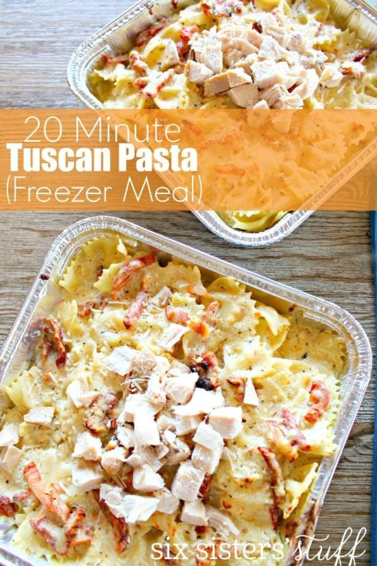 This freezer cooking recipe for Tuscan Past only needs 20 minutes.