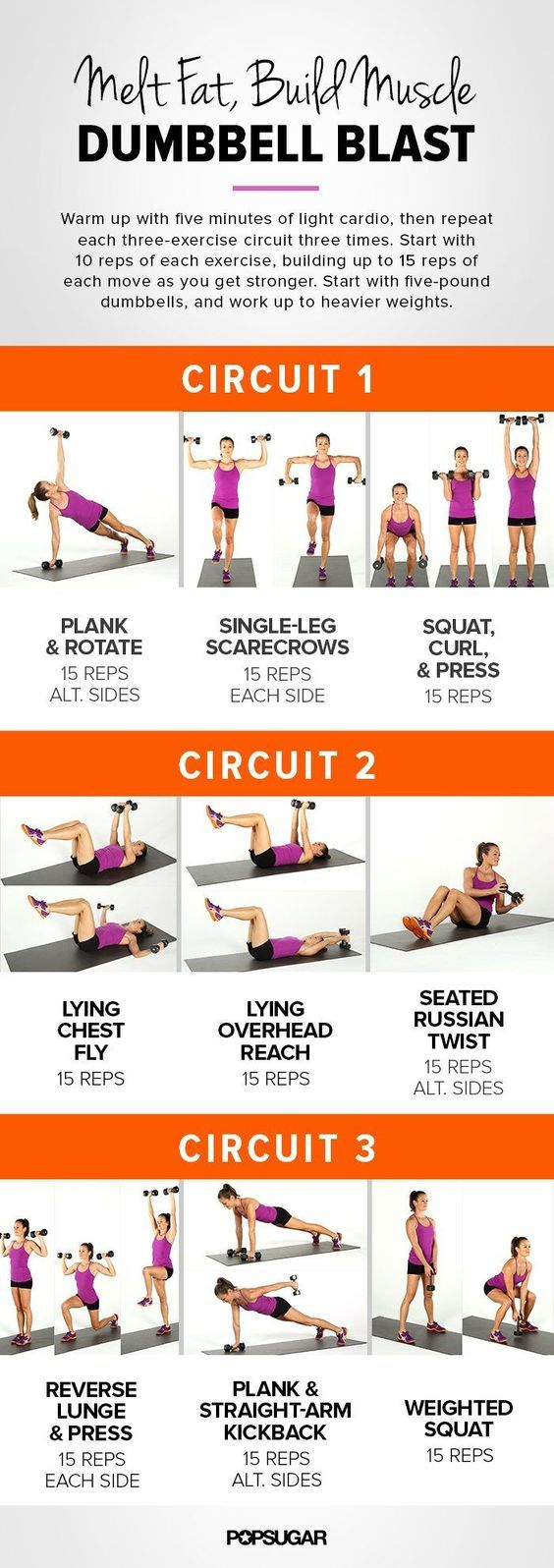 Popular quick full body dumbbell workout