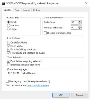 Panneau de propriétés des options cmd.exe (avant)
