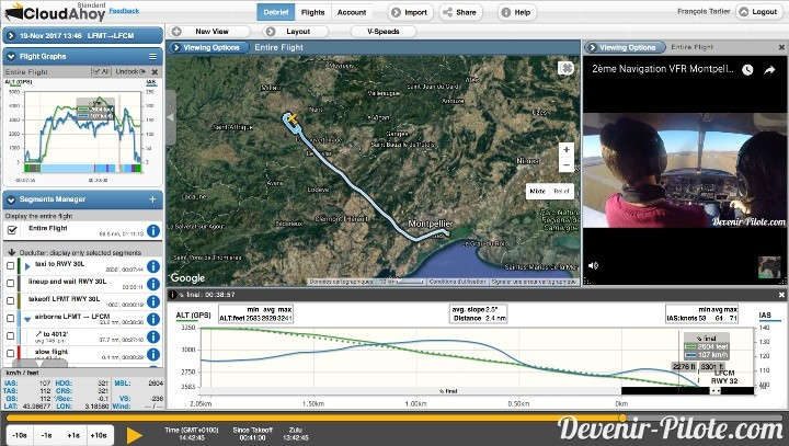 Cloudahoy - Navigation VFR LFMT vers LFCM