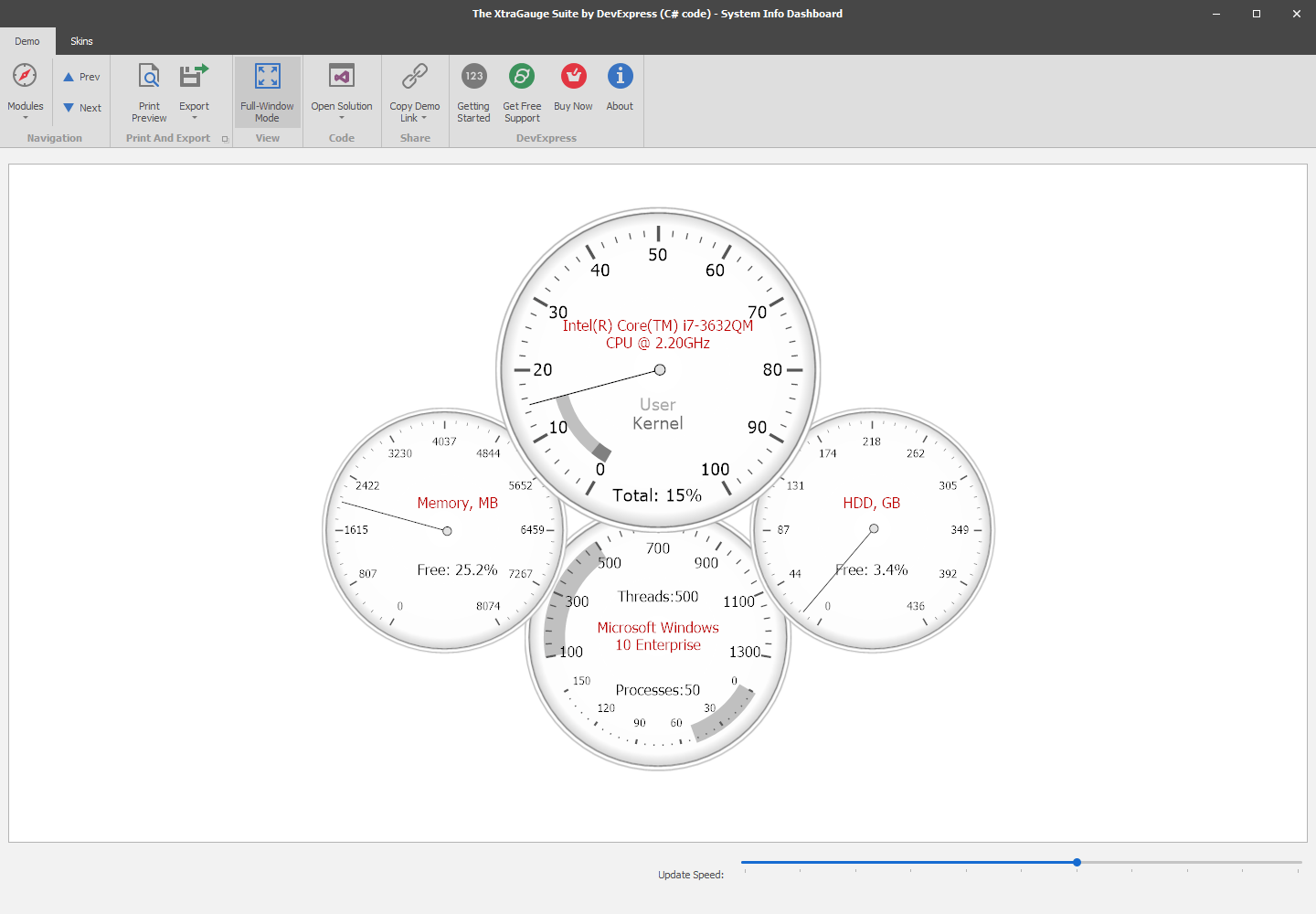 DevExpress Gauge and Indicator Controls for WinForms