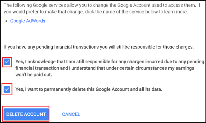 What happens to a deceased user's account on Google?