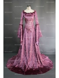 Purple Fantasy Velvet Medieval Gown - Devilnight.co.uk