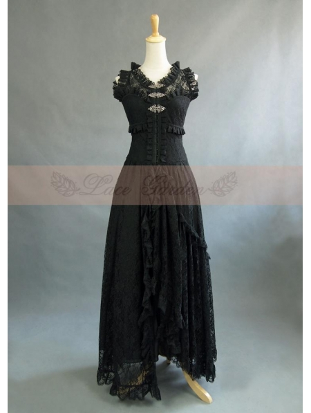 Black Lace Sleeveless Vintage Victorian Dress Devilnight
