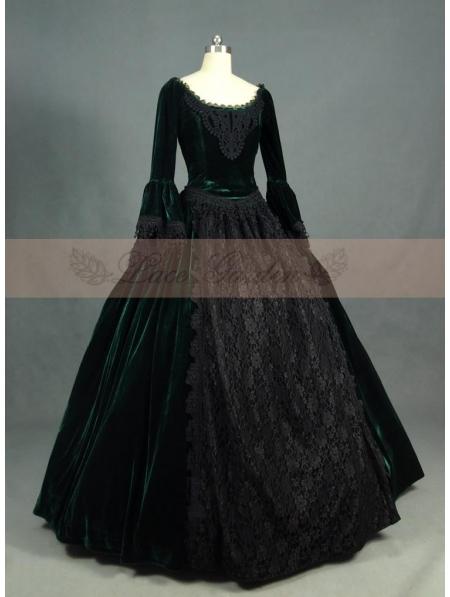 Green and Black Velvet Lace Victorian Ball Gowns  Devilnightcouk