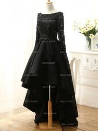 Fashion Black Lace High-Low Gothic Wedding Dress ...