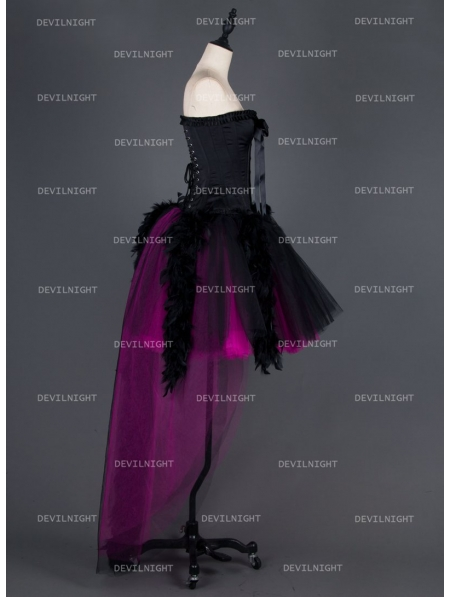 Black and Fuchsia HighLow Feather Gothic Prom Party Dress
