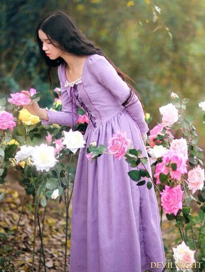 Elegant Purple LaceUp Long Sleeves Medieval Inspired