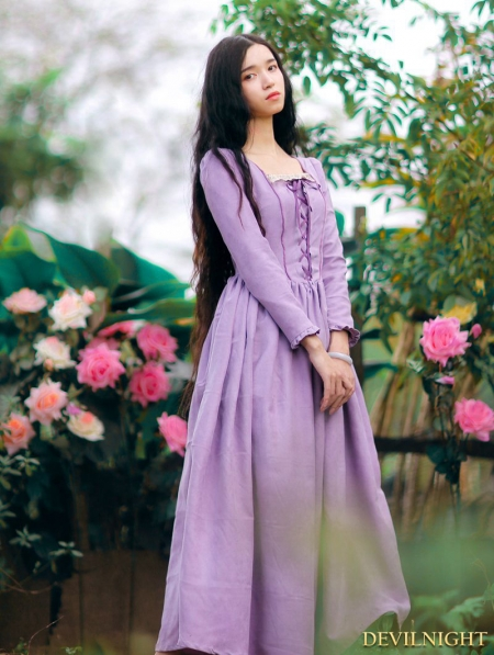 Elegant Purple LaceUp Long Sleeves Medieval Inspired