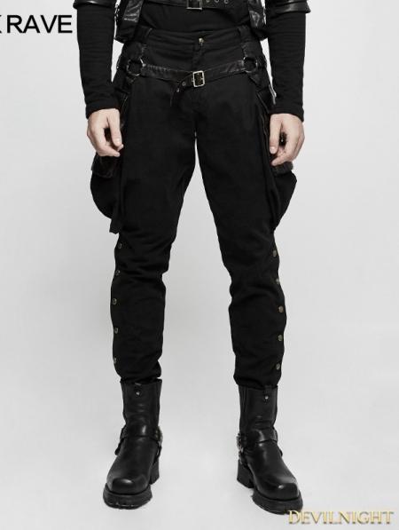 Black Gothic Steampunk Riding Breeches For Men