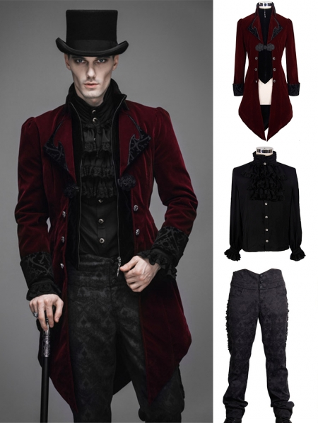 Red Vintage Gothic Swallow Tail Suit for Men  Devilnightcouk