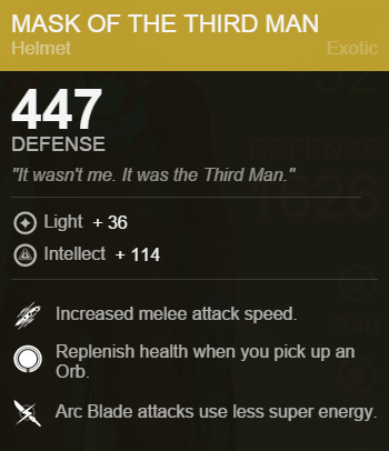 Mask of the Third Man Stats
