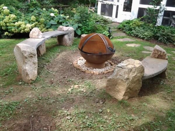 log arbors stone benches