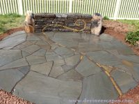 Flagstone Patio and Wall with fern Motif, Gilbertsville ...