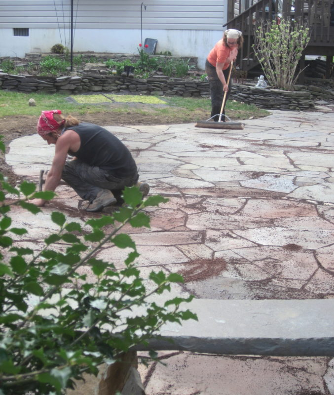 how to clean dry laid flagstone how