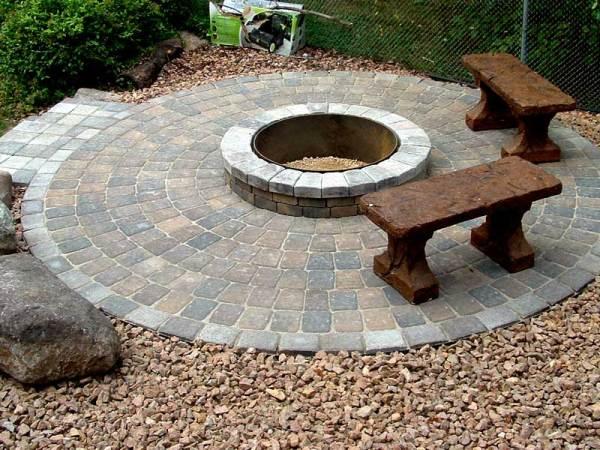 paver patio with fire pit design ideas Stone fire pit ideas Rosemount, MN | Devine Design Hardscapes