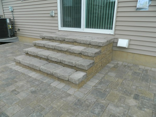 paver patio steps designs Brick and Block stairs | Devine Design Hardscapes
