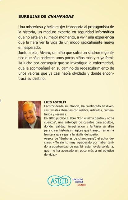"""Contraportada de """"Burbujas de Champagne"""". Fuente: Luis Astolfi."""