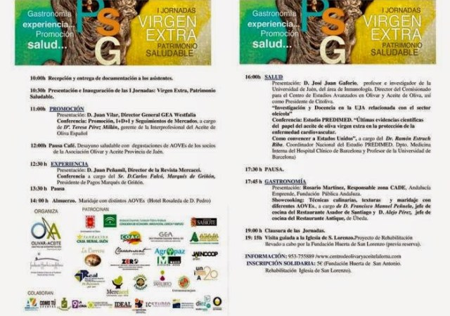 Programa de las I Jornadas Virgen Extra Patromonio Saludable. Fuente [en línea]: mesamesubeda.com