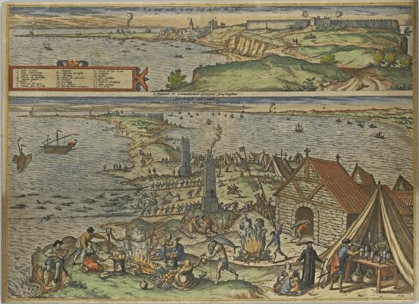 """Vista de Cádiz, con representación en primer término de una almadraba, en la Obra """"Civitates Orbis Terrarum(1564-1578)"""" Número de control de la cartoteca: IECA1988024872. Fuente: Junta de Andalucía"""