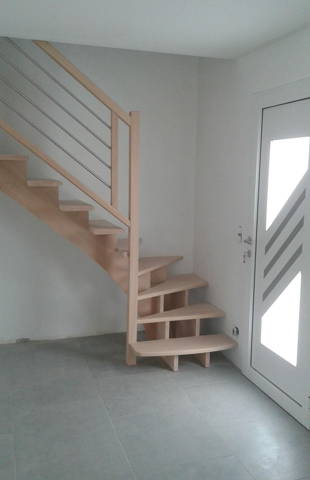 Escalier bois rampe bois inox