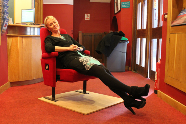 Sue Wiles relaxing in a Barn Cinema seat. Courtesy of Will Carrodus