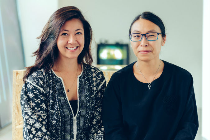 Nicole Yip and Zoe Li in The Gallery at Plymouth College of Art