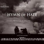 the poster of the Matt Kennard film Hymn of Hate - two men in black and white sit on a hill surrounded by smoke