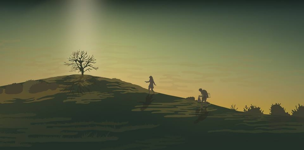 intelligent life illustration. a bare hill with a tree on top and two people walking up it. The image is almost in silhouette
