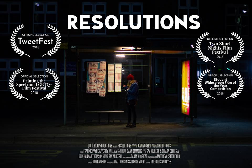 Heidi Jones Resolution film poster showing a woman in a bus stop at night