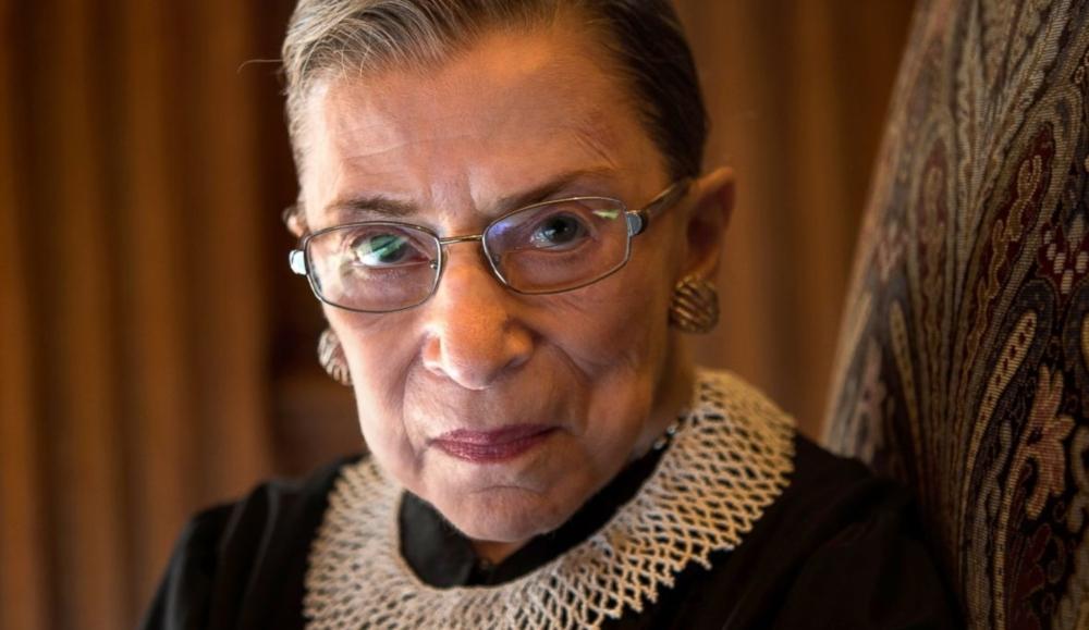 ustice Ruth Bader Ginsburg looking at the camera