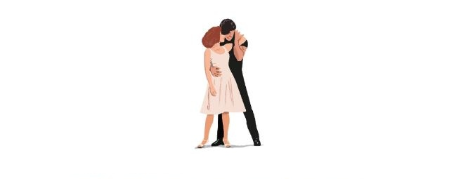 a line drawing of a still from dirty dancing