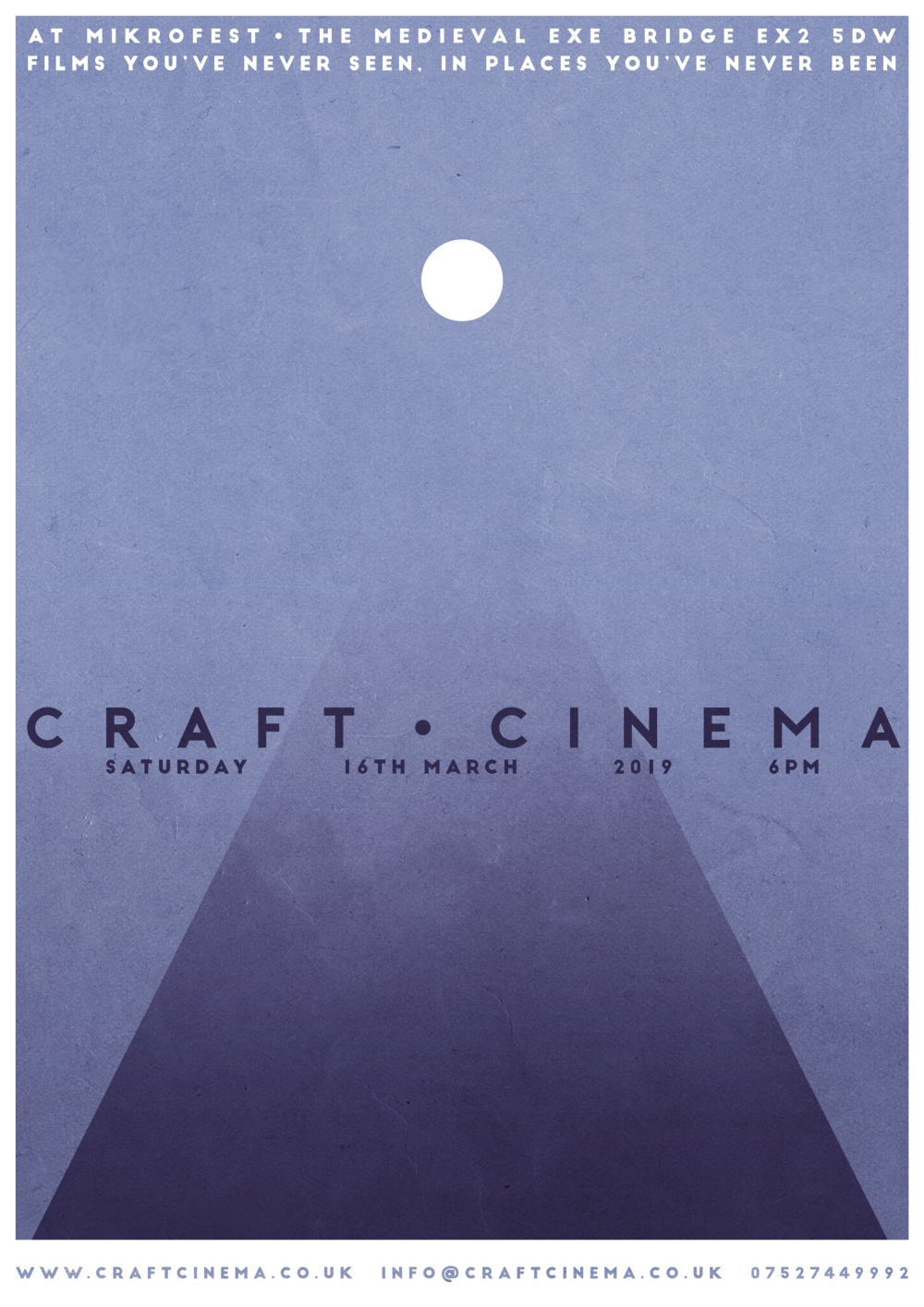 Craft Cinema poster designed by Poster design by Adi Stone