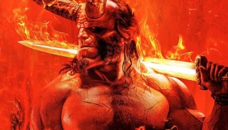 a red demon with horns holding a sword on their shoulder