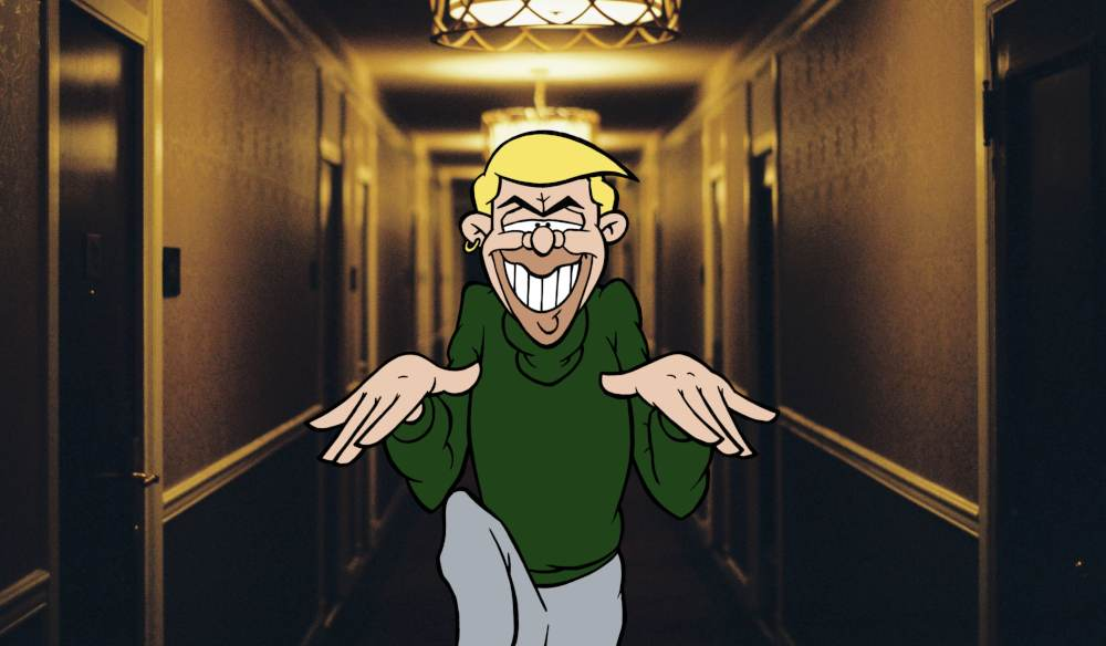 doozy still with the cartoon character creeping down a hall way