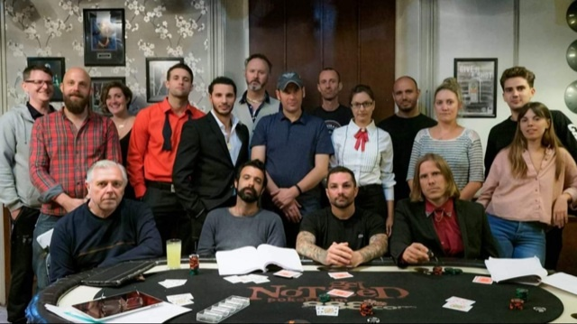 Steve Aaron-Sipple and some of the cast and crew of Card Dead