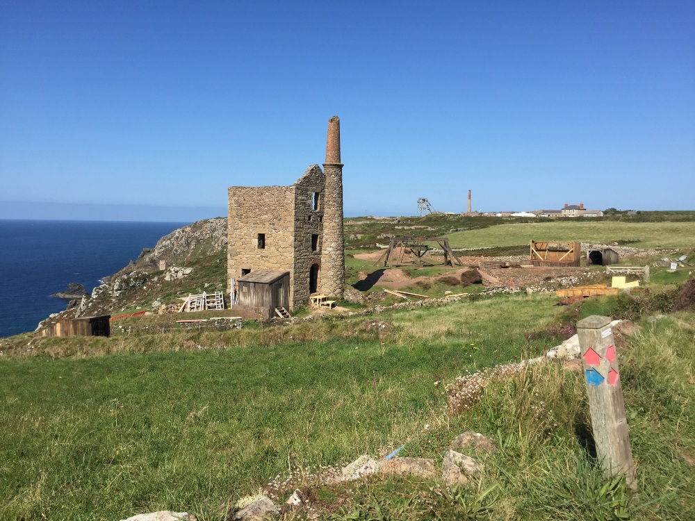 a tin mine in ruins on the Cornish coast