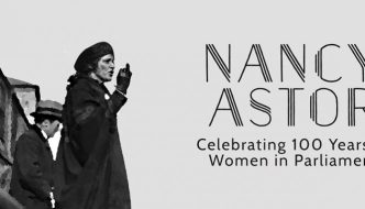 a woman - nancy astor - is looking out in black and white, and the title of the film fills the sky next to her