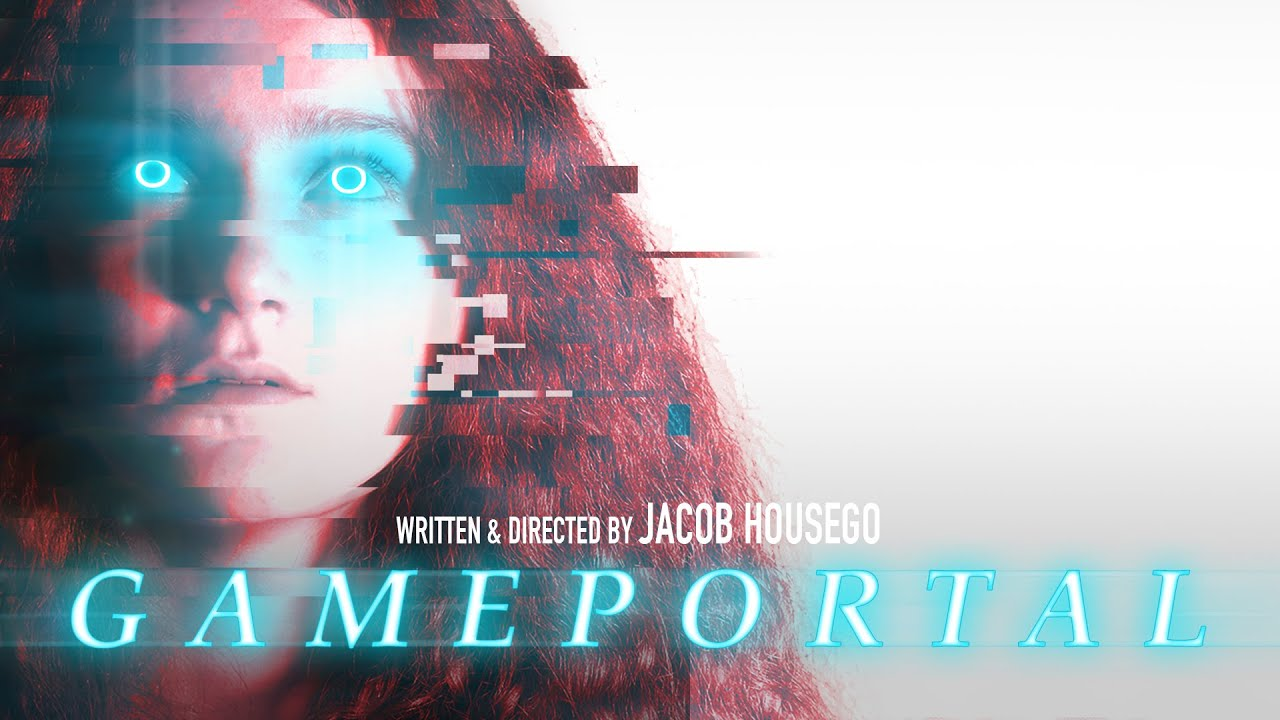 Gameportal film cover by Jacob Housego - a girl with red hair has electric blue colour over her eyes