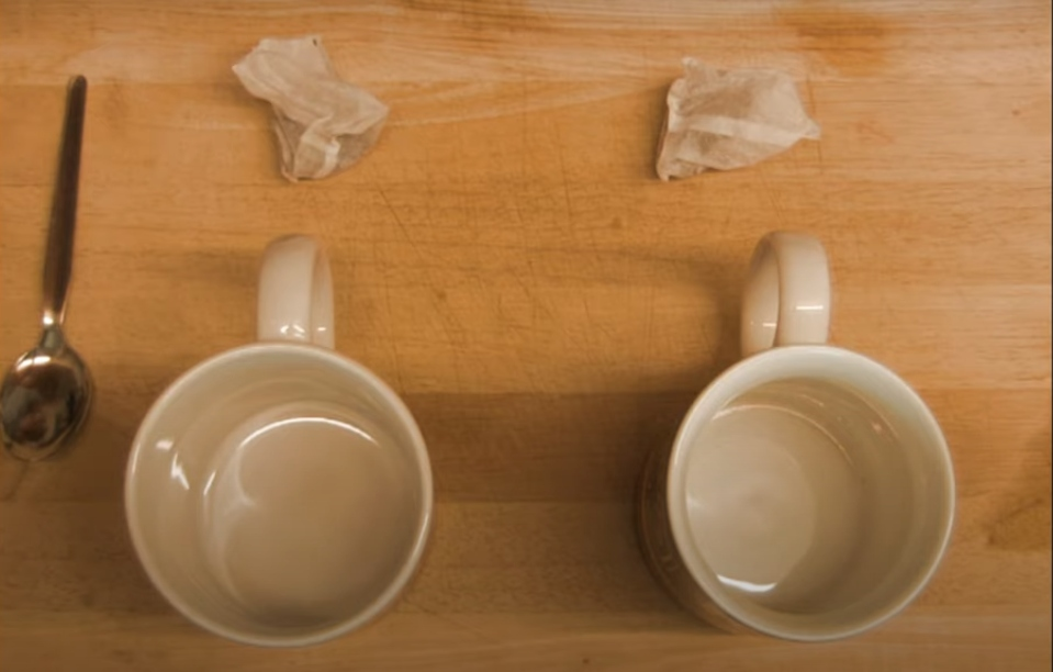 two mugs and two tea bags - a still from Quarantine Couple by Connor Raithby