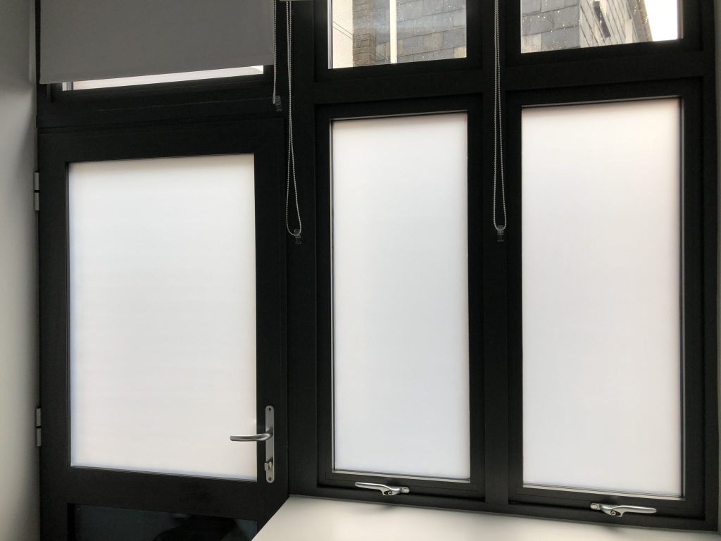 Hanita Matte privacy film applied to the interior to give full privacy whilst allowing the light through.