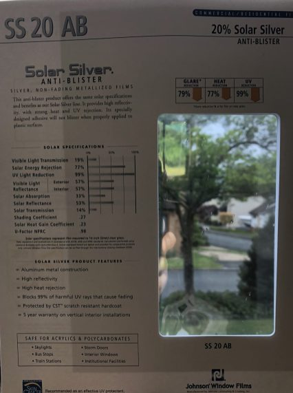 Solar Silver 20 Anti Blister for Plastic Window Film