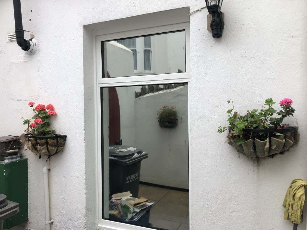 Hanita Silver 20 for privacy on this guest house kitchen window in Brixham.