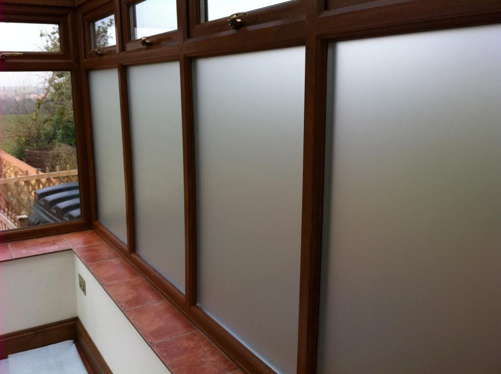 Opal Frost window film for a conservatory in Tiverton to meet planning regulations