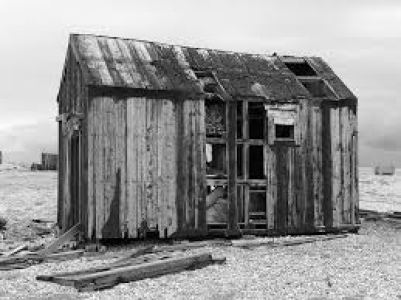 Damaged fishing shack