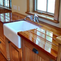 Kitchen Sinks With Drainboards Displays Custom Wood Countertop Options -