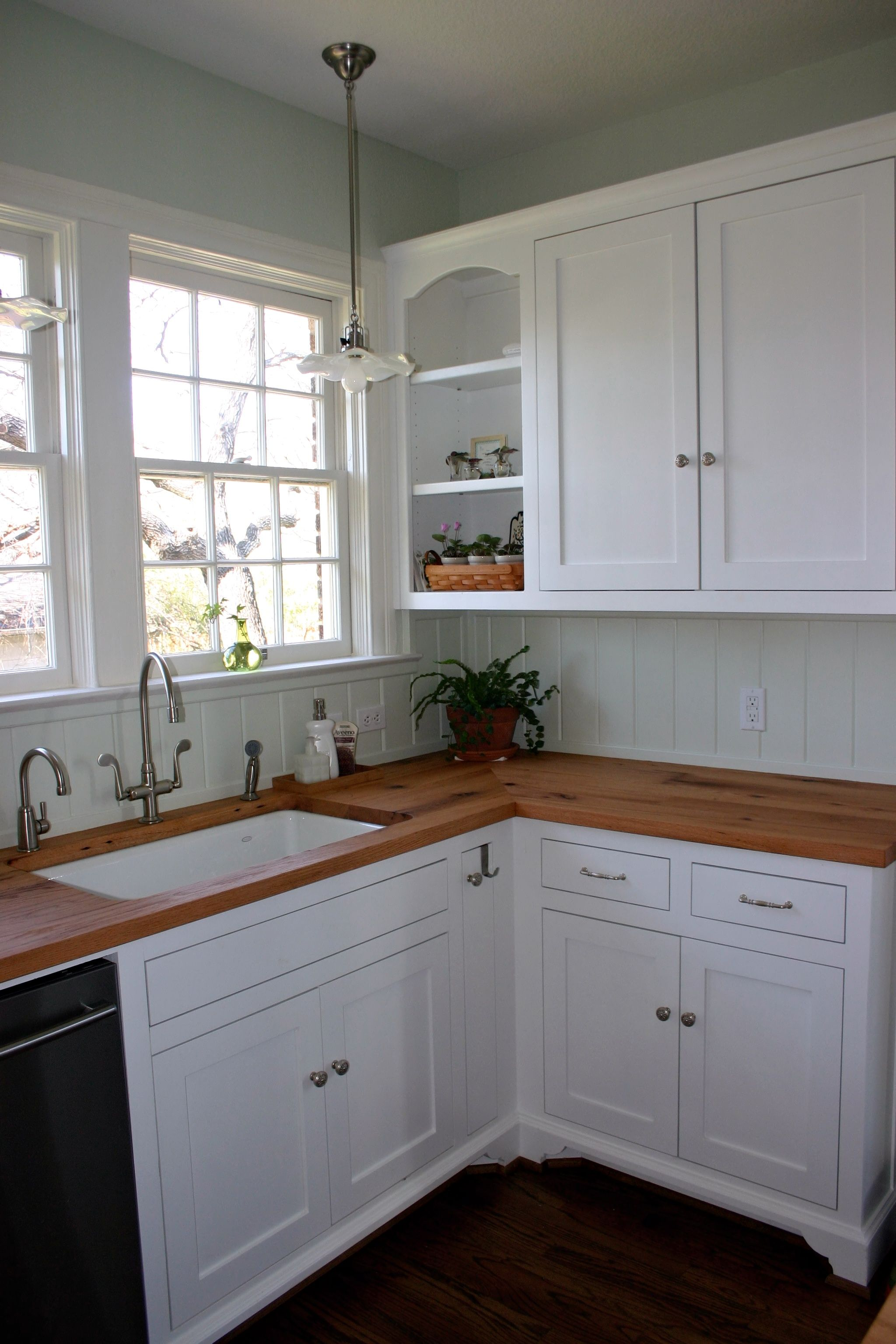 white kitchen island with butcher block top cherry wood cabinets photos reclaimed oak countertop photo gallery, by ...