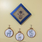 Hamsa wall hanging with amulet triptych for new mother/baby featuring Angels of Lilith